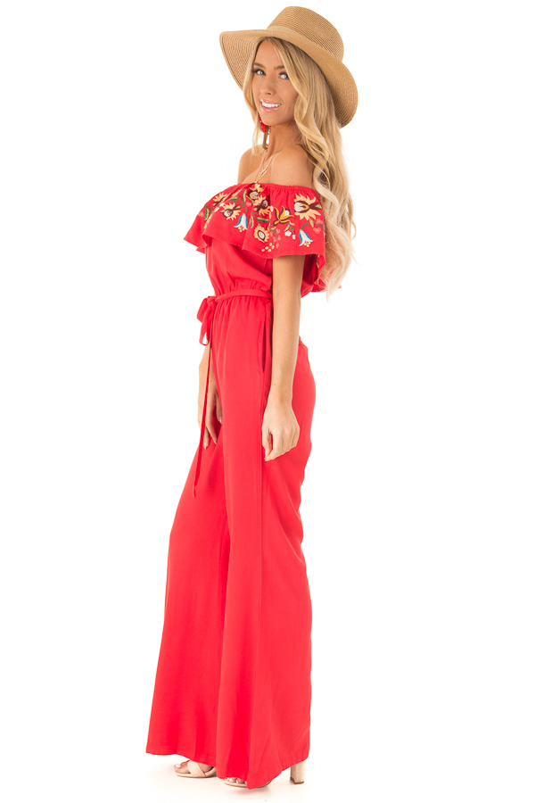 Tomato Red Off the Shoulder Floral Embroidered Jumpsuit side full body