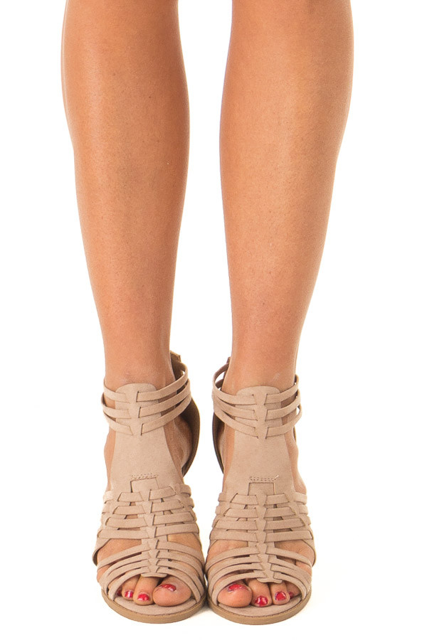 Taupe Faux Suede Heeled Sandal with Strappy Detail front view