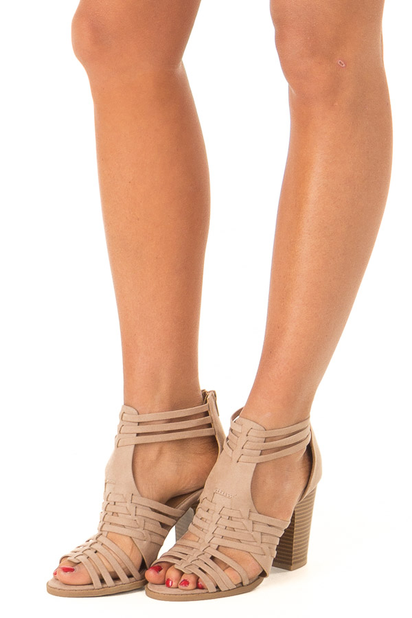 Taupe Faux Suede Heeled Sandal with Strappy Detail side view