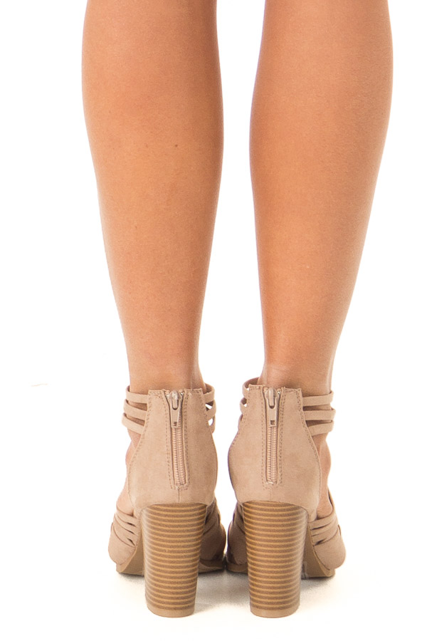 Taupe Faux Suede Heeled Sandal with Strappy Detail back view