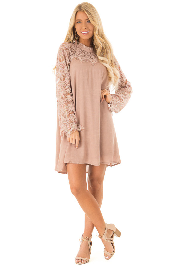 Dusty Mauve Mock Neck Short Dress with Lace Sleeves front full body
