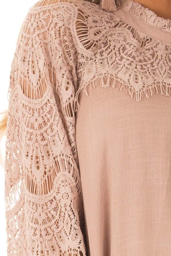 Dusty Mauve Mock Neck Short Dress with Lace Sleeves detail