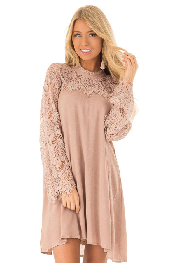 Dusty Mauve Mock Neck Short Dress with Lace Sleeves front close up