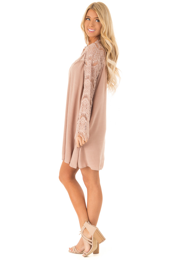 Dusty Mauve Mock Neck Short Dress with Lace Sleeves side full body