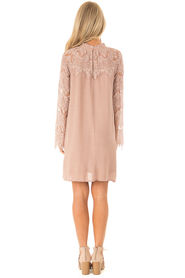 Dusty Mauve Mock Neck Short Dress with Lace Sleeves back full body