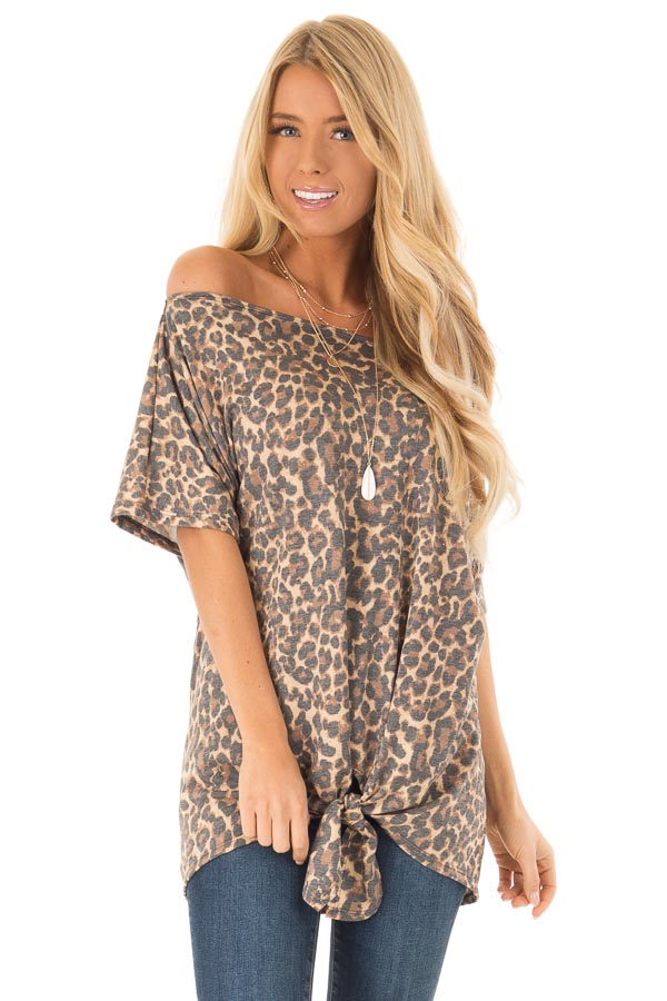 Mocha Leopard Print Short Sleeve Top with Front Tie Detail front close up