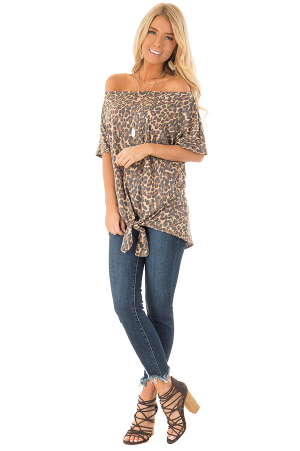 Mocha Leopard Print Short Sleeve Top with Front Tie Detail front full body