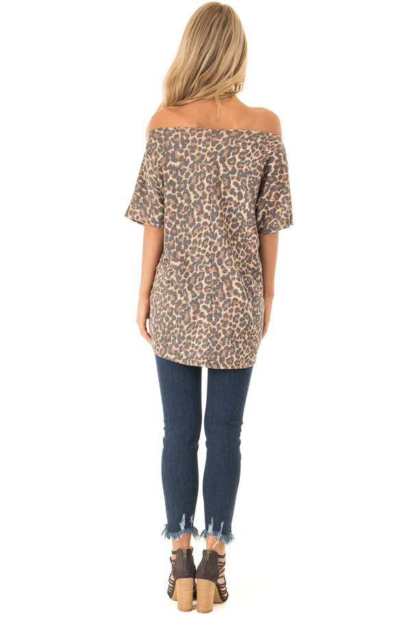 Mocha Leopard Print Short Sleeve Top with Front Tie Detail back full body