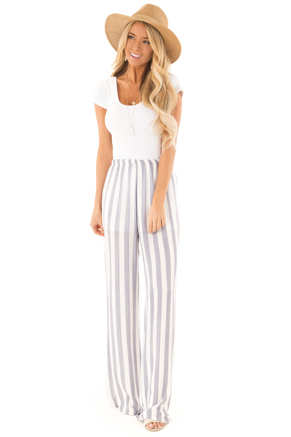 Faded Navy and White Striped Palazzo Wide Leg Pants front full body