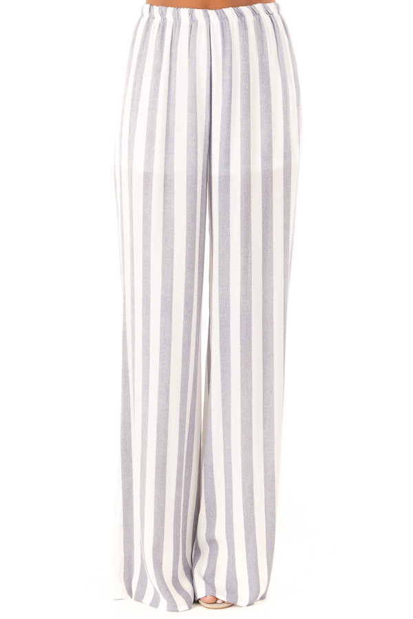 Faded Navy and White Striped Palazzo Wide Leg Pants front view