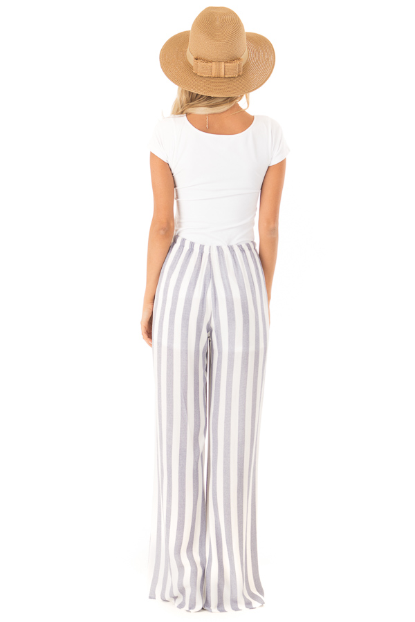 Faded Navy and White Striped Palazzo Wide Leg Pants back full body