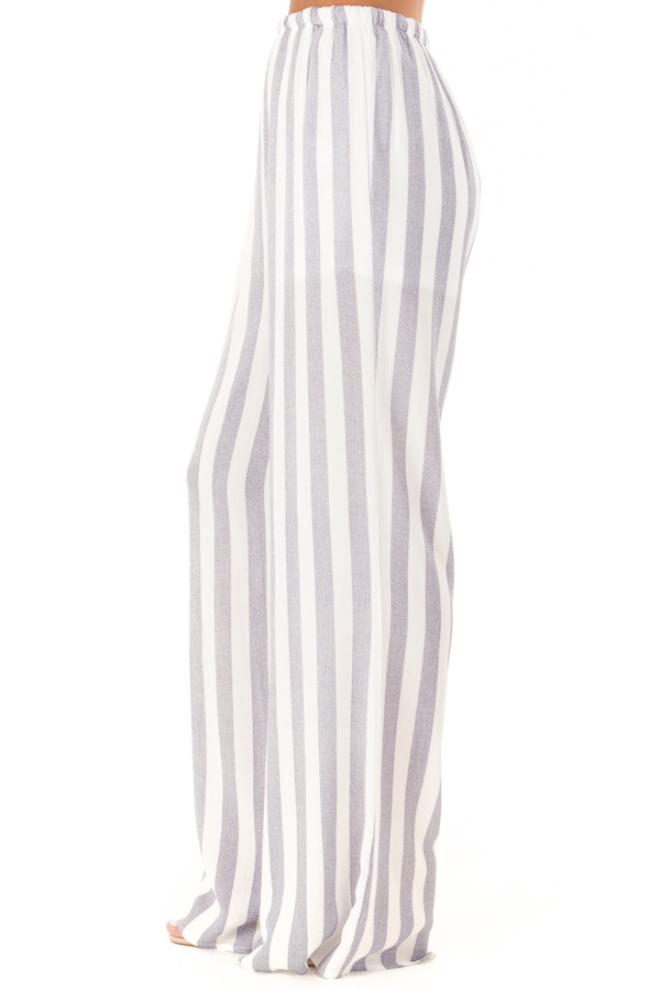 Faded Navy and White Striped Palazzo Wide Leg Pants side view