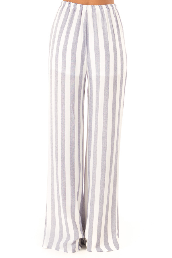 Faded Navy and White Striped Palazzo Wide Leg Pants back view