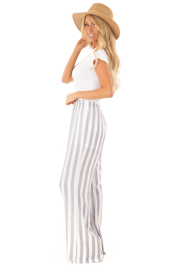 Faded Navy and White Striped Palazzo Wide Leg Pants side full body