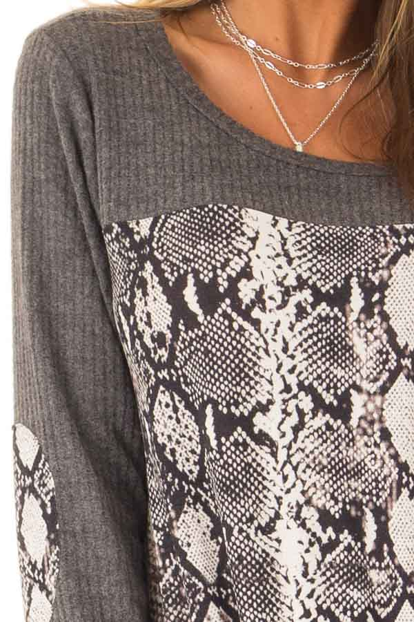 Charcoal Waffle Knit Top with Snake Skin Print Contrast detail