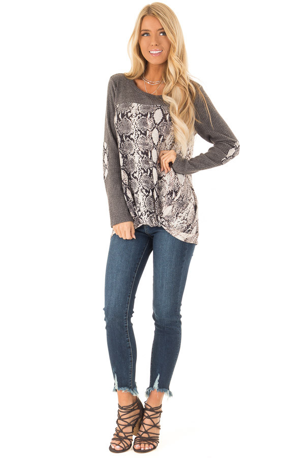 Charcoal Waffle Knit Top with Snake Skin Print Contrast front full body