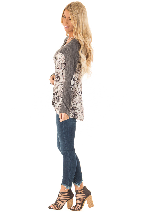 Charcoal Waffle Knit Top with Snake Skin Print Contrast side full body