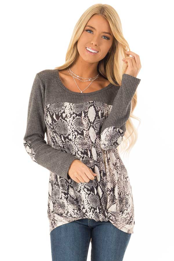 Charcoal Waffle Knit Top with Snake Skin Print Contrast front close up