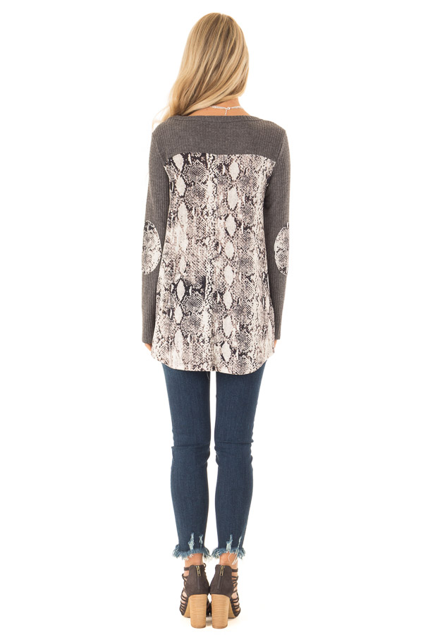 Charcoal Waffle Knit Top with Snake Skin Print Contrast back full body