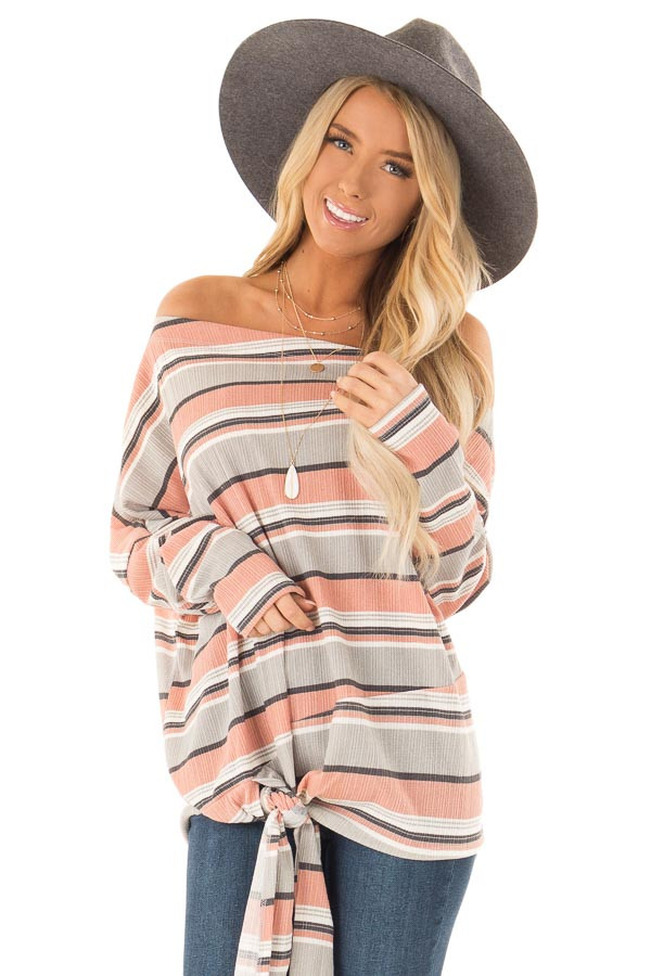 Dusty Rose and Grey Striped One Shoulder Top with Front Tie front close up