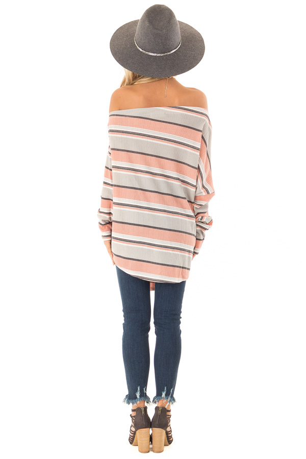 Dusty Rose and Grey Striped One Shoulder Top with Front Tie back full body