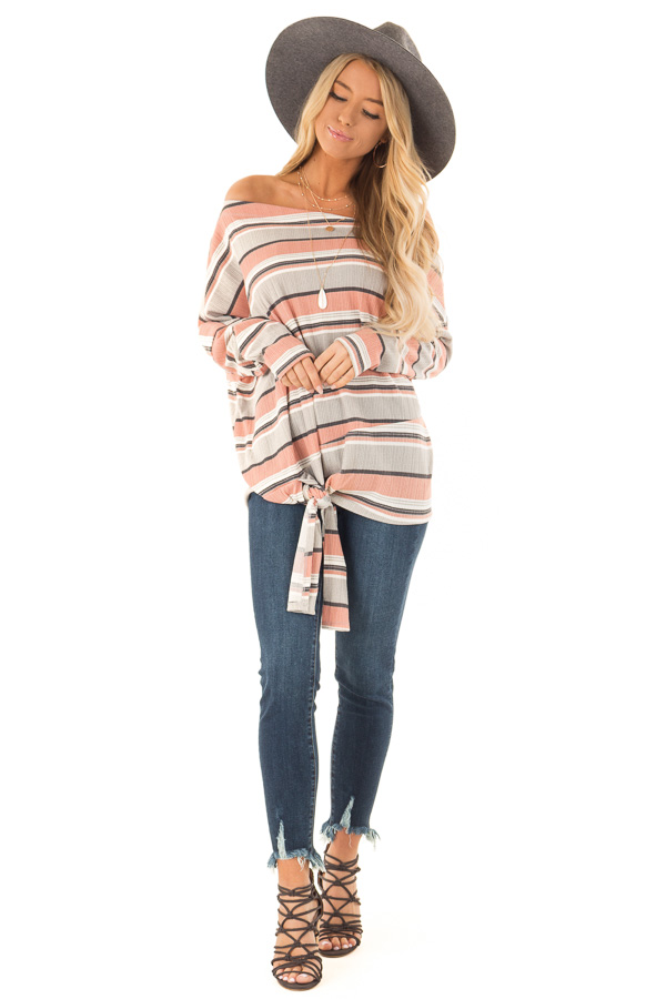 Dusty Rose and Grey Striped One Shoulder Top with Front Tie front full body