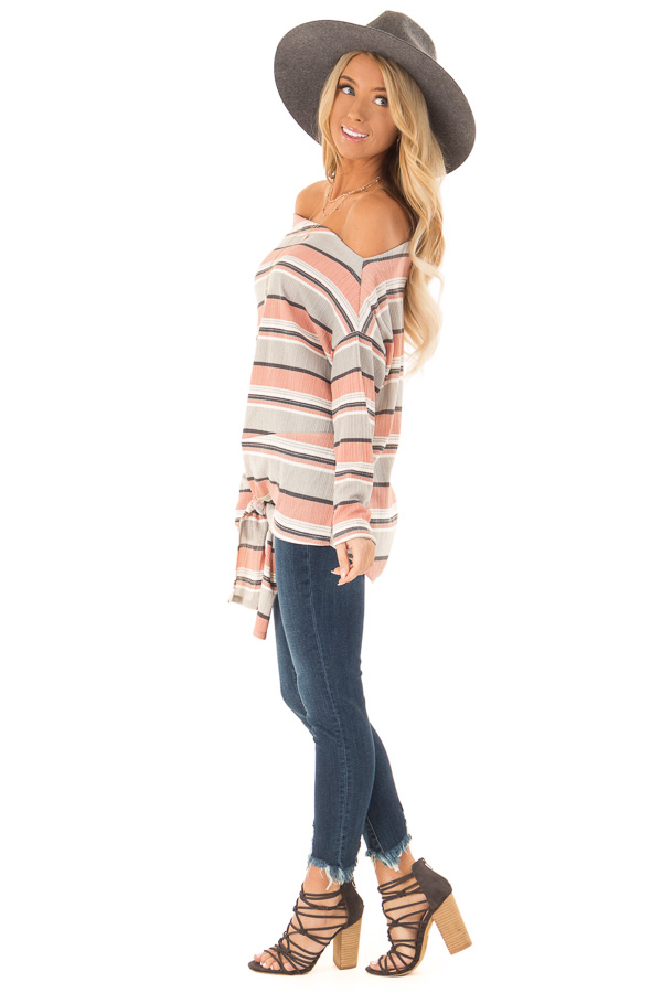 Dusty Rose and Grey Striped One Shoulder Top with Front Tie side full body