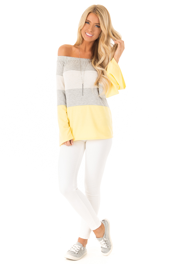 Canary and Heather Grey Color Block Off Shoulder Top front full body