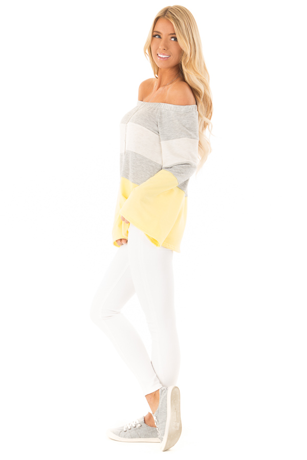 Canary and Heather Grey Color Block Off Shoulder Top side full body