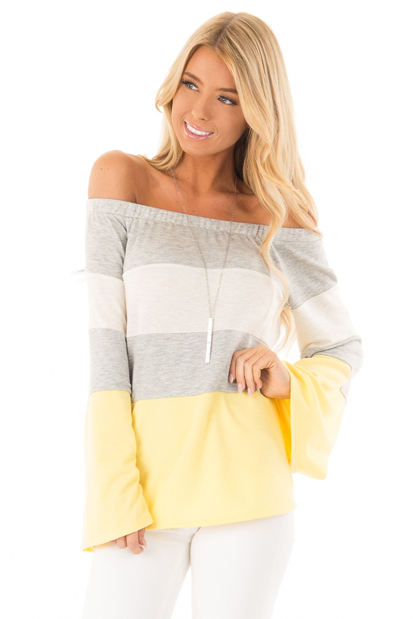 Canary and Heather Grey Color Block Off Shoulder Top front close up