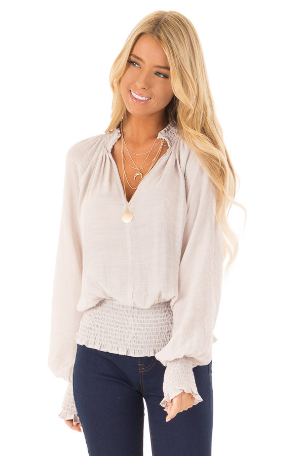 Champagne Blouse with Bishop Sleeves and Smocked Detail front close up