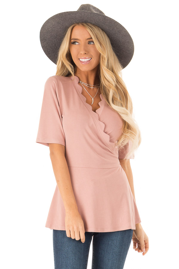 Dusty Rose Short Sleeve Wrap Top With Scalloped Detail front close up