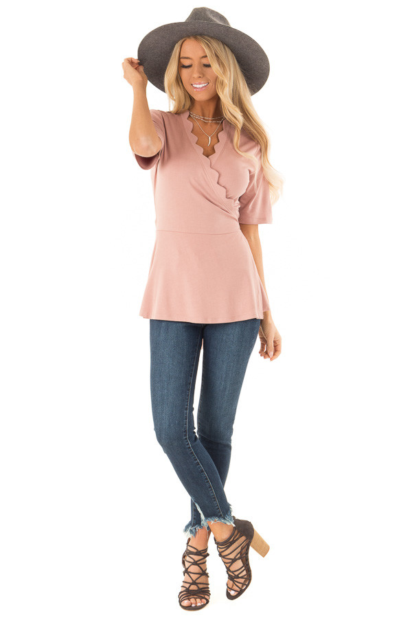 Dusty Rose Short Sleeve Wrap Top With Scalloped Detail front full body