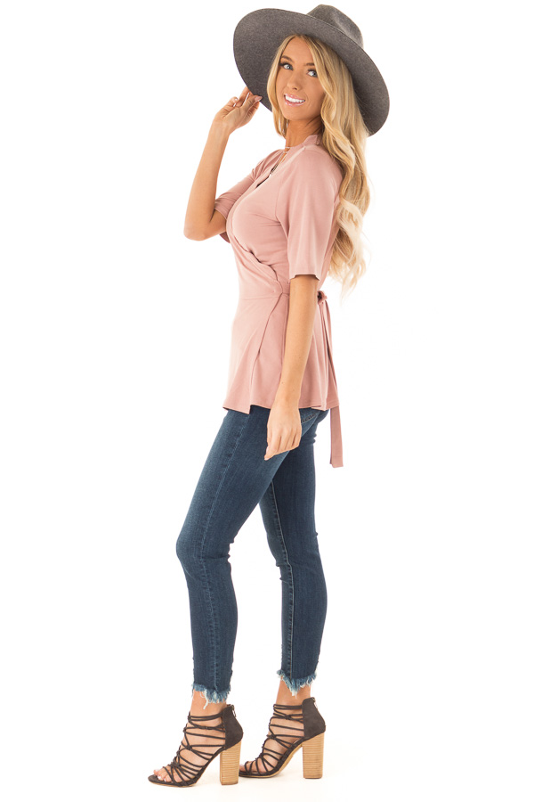 Dusty Rose Short Sleeve Wrap Top With Scalloped Detail side full body