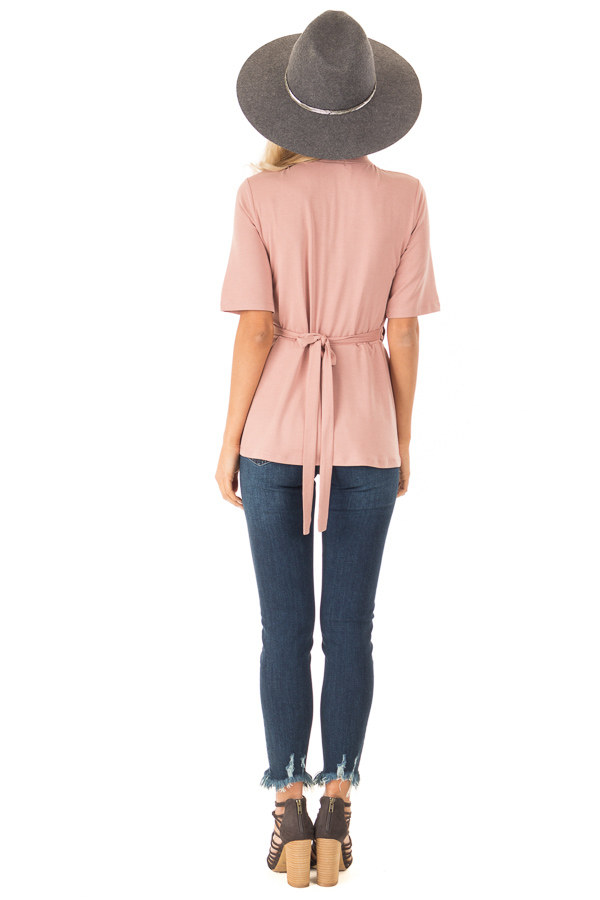 Dusty Rose Short Sleeve Wrap Top With Scalloped Detail back full body