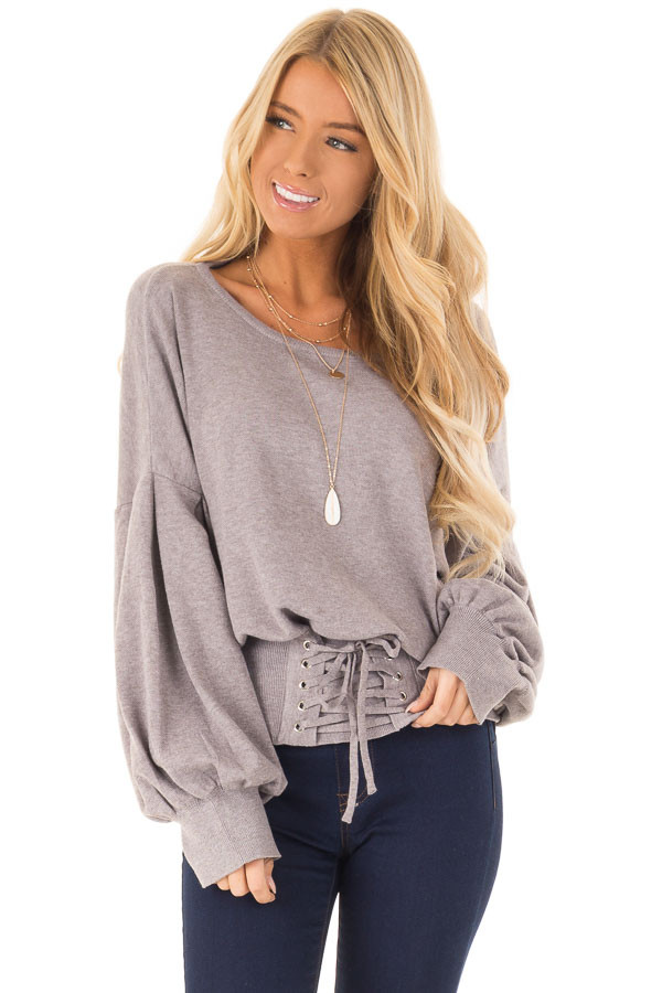 Heather Lavender Lace Up Hem Sweater with Bishop Sleeves front close up