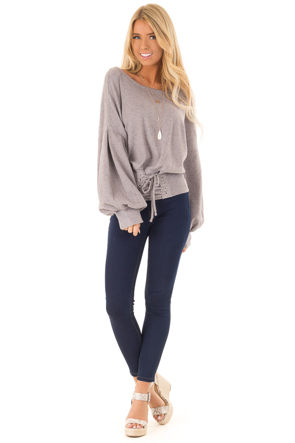 Heather Lavender Lace Up Hem Sweater with Bishop Sleeves front full body
