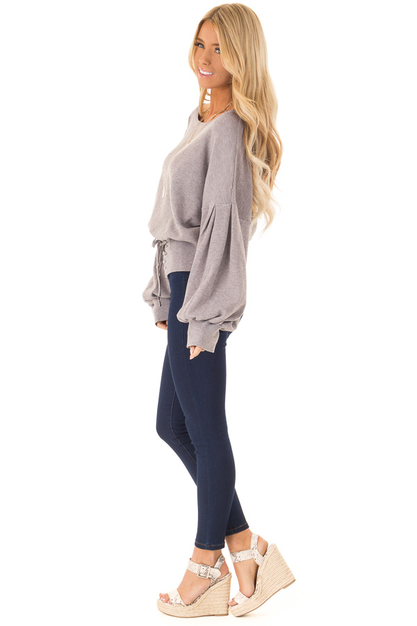 Heather Lavender Lace Up Hem Sweater with Bishop Sleeves side full body