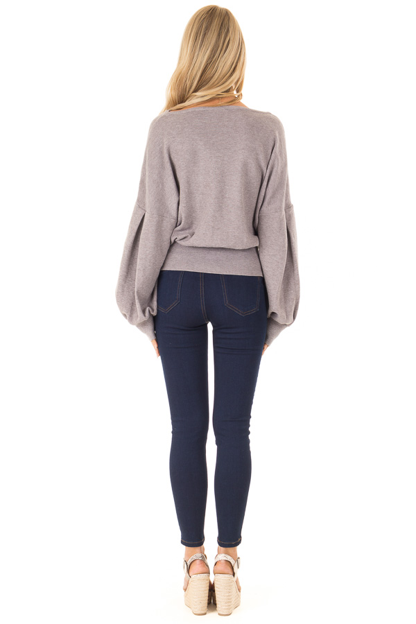 Heather Lavender Lace Up Hem Sweater with Bishop Sleeves back full body