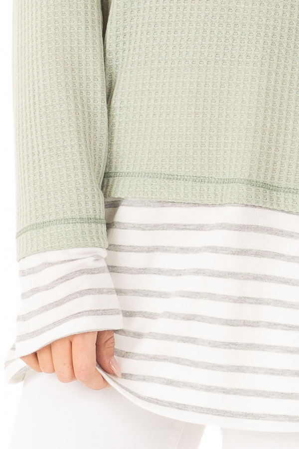 Dusty Sage Top with Heather Grey Striped Contrast detail