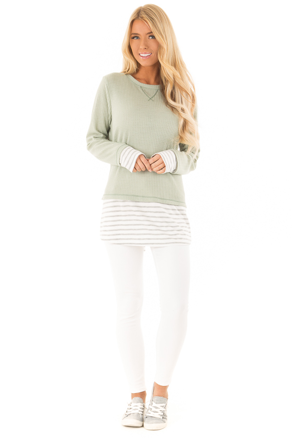 Dusty Sage Top with Heather Grey Striped Contrast front full body