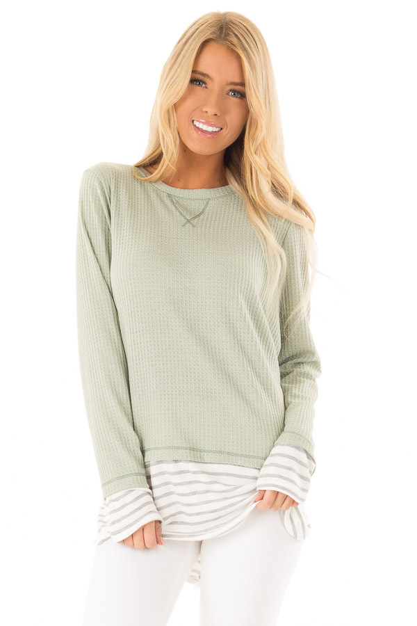 Dusty Sage Top with Heather Grey Striped Contrast front close up