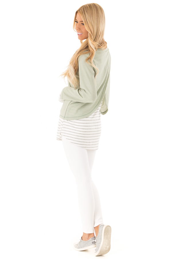 Dusty Sage Top with Heather Grey Striped Contrast side full body