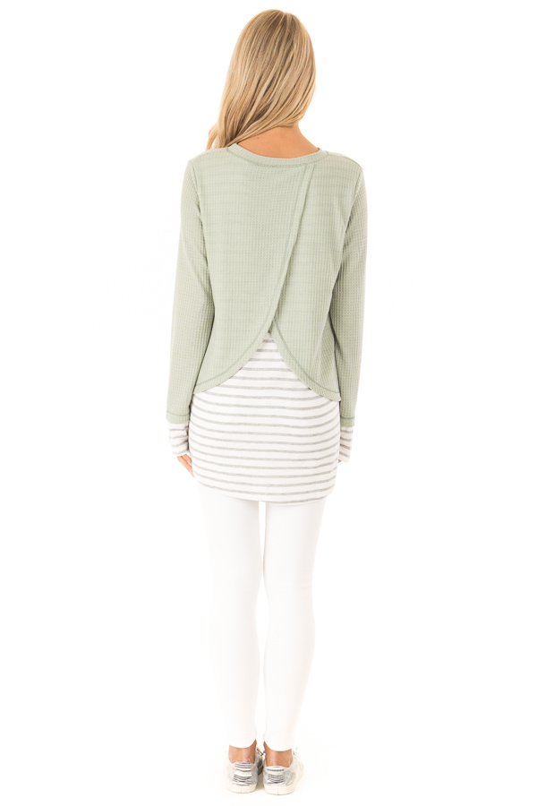 Dusty Sage Top with Heather Grey Striped Contrast back full body