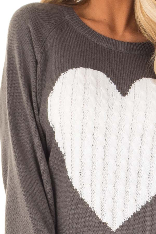 Charcoal Grey Knit Top with Ivory Crochet Heart Detail detail