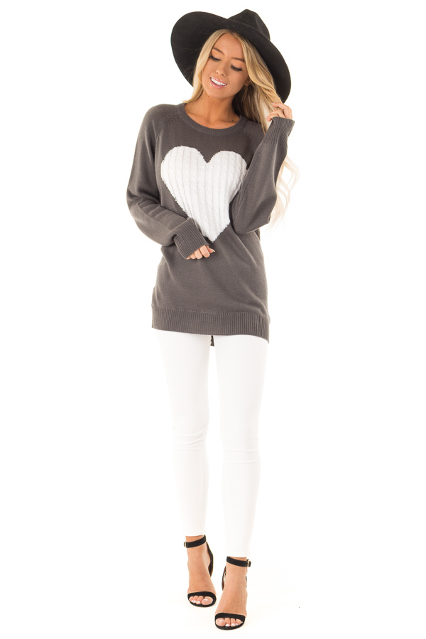Charcoal Grey Knit Top with Ivory Crochet Heart Detail front full body