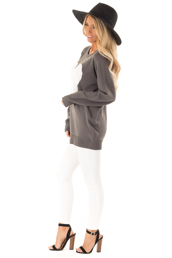Charcoal Grey Knit Top with Ivory Crochet Heart Detail side full body