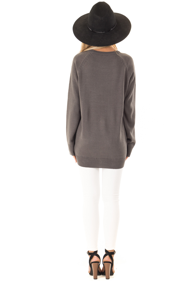 Charcoal Grey Knit Top with Ivory Crochet Heart Detail back full body