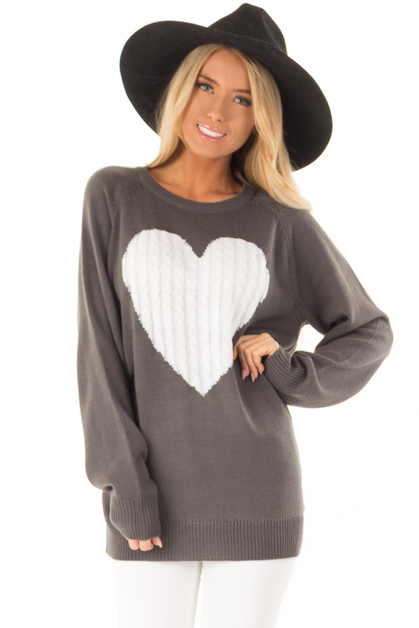 Charcoal Grey Knit Top with Ivory Crochet Heart Detail front close up