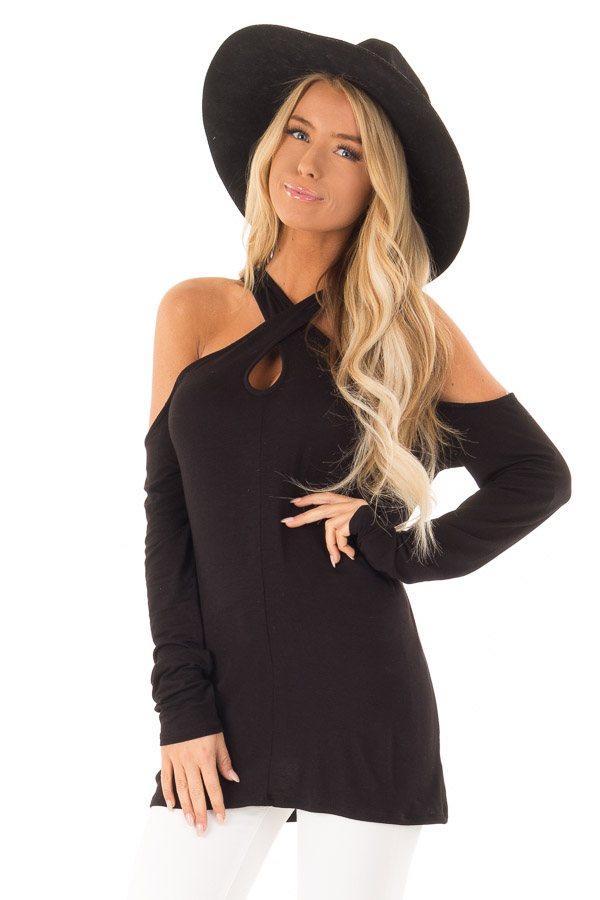 Black Cold Shoulder Criss Cross Strap Top with Long Sleeve front close up